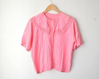 pink peter pan collared button down vintage shirt 80s // M