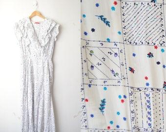 Betty Barclay white floral pattern midi dress 80s // M
