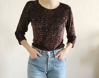 vintage brown velvet 3/4 sleeves shirt top 80s // S-M