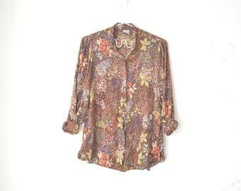 brown floral and bird print button down silk blouse 80s // M