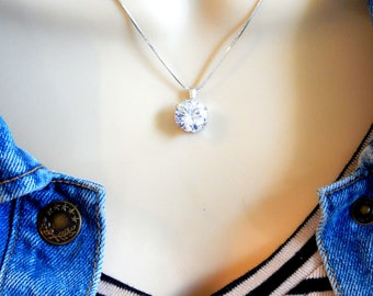 Cubic Zirconia Solitaire Necklace On A Silver Chain