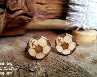 Personalized football Wooden Cufflinks soccer Woodland Dad Grooms Best man Groomsman Rustic Wedding Birthday Gift Cuff links