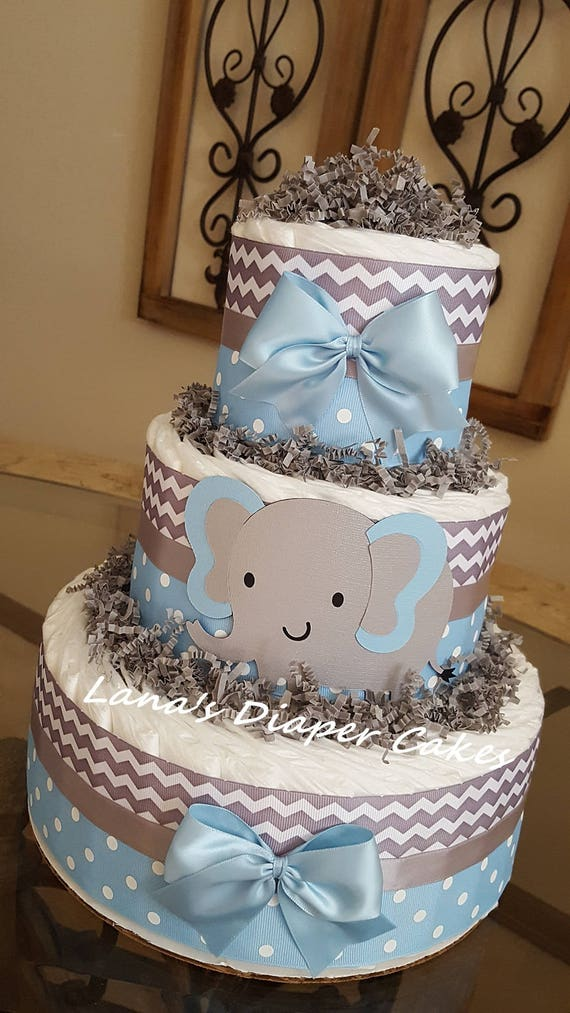 elephant diaper cake 3 tier blue and gray elephant cake baby boy shower 3878