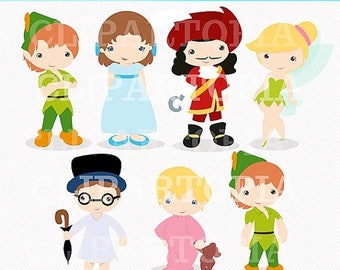 50% OFF SALE Neverland Digital Clipart / Cute Peter Digital Clipart For Personal and Commercial Use / INSTANT Download