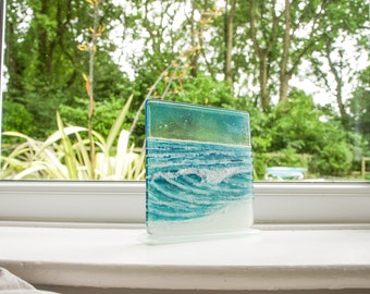 "The Rolling Wave-FREE UK SHIPPING- Turquoise/Blue Wave Panel Fused Glass Windowsill Upstand 15cm (6"") square on 1 foot"