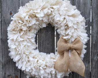 """28"""" Burlap Rag Wreath, Winter Wreath, White Wreath, Rustic Wreath, Beach Wreath, Everyday Wreath"""