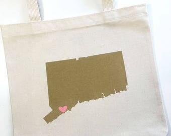 Set of 12 Connecticut Wedding Tote Bags, Welcome Wedding Favors, Hotel Tote Bags, Wedding Guest Gifts, Bachelorette Party Gifts
