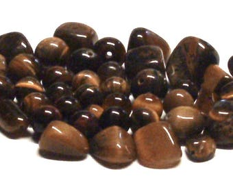 Destash Mixed Grab Bag Lot of 2.1 Oz. of Tiger Eye Stone Bead Nuggets, Tiger Eye Stone Beads, Tiger Eye Nuggets