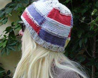 striped colour block vegan knit hat