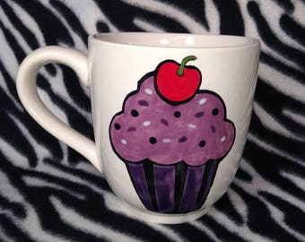 Rosies Daily Special Purple Cupcake Coffee Cup Mug Handmade Hand Made OHIO USA Pottery Ceramics Tattoo
