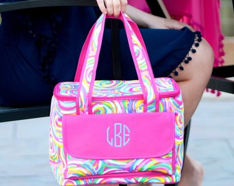 Summer Sorbet Cooler Bag / Pink / Green / Personalized Cooler Tote / Insulated Beach Tote