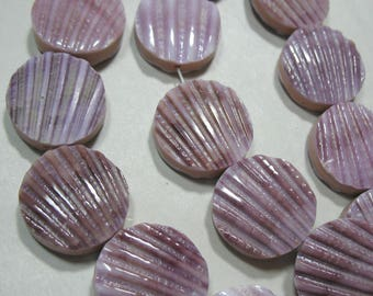 "Purple Lions Paw Scallop Shell Double Sided 19-20mm Round Coin Beads 15.5"" Strand-DIY Jewelry Beading Stringing Bracelet Earrings Natural"