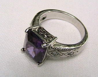 Sterling Silver Ring, Amethyst and Diamonds, Sterling size 8