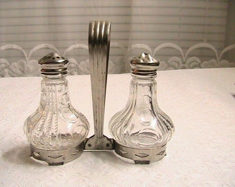 Salt and Pepper Shakers, Glass, Vintage S&P Shakers in Metal Marked Stand, Vintage Tableware