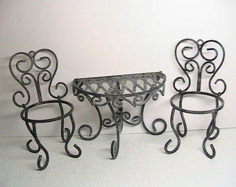 Patio Set, Small Metal Folding Half Moon Table, Chairs, Flower Pot Holders, Set 3 Pc.