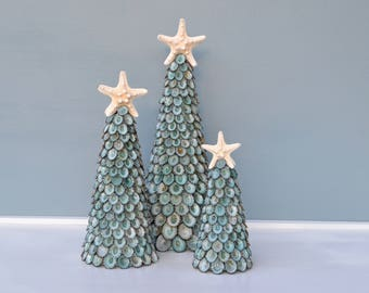 Christmas Beach Decor, Coastal Christmas Decor, Seashell Christmas Tree, Nautical Decor, Green Limpet Christmas Tree