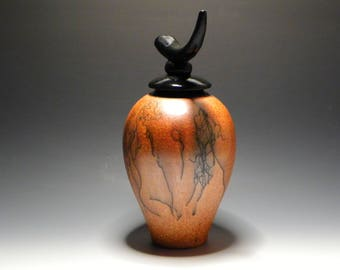 Burnt Orange & Black Horsehair Raku/Handmade/Ceramic Lidded Vessel/Urn/OOAK Art Pottery