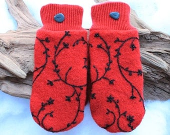Wool sweater mittens lined with fleece with Lake Superior rock buttons in red and black, embroidered, beaded mittens, Valentines Day