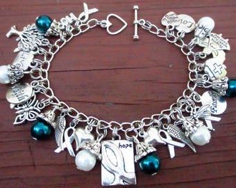 NEW Teal and White Awareness Hope Ribbon Charm Bracelet Cervical Cancer