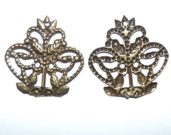 2 connectors filigree openwork Bronze with holes for jewelry ethnic earrings