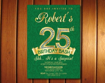 25th Birthday Invitation - Adult Birthday Party Invitation - Milestone Green and Gold Diamond