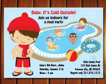 Indoor Pool Party Invitation - Winter Pool Party Birthday Invitation - Printable for Boys