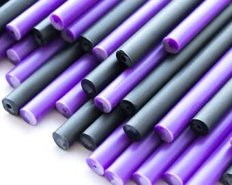x50 Purple Potion Plastic Lollipop Sticks 114mm x 4mm Purple & Black Halloween