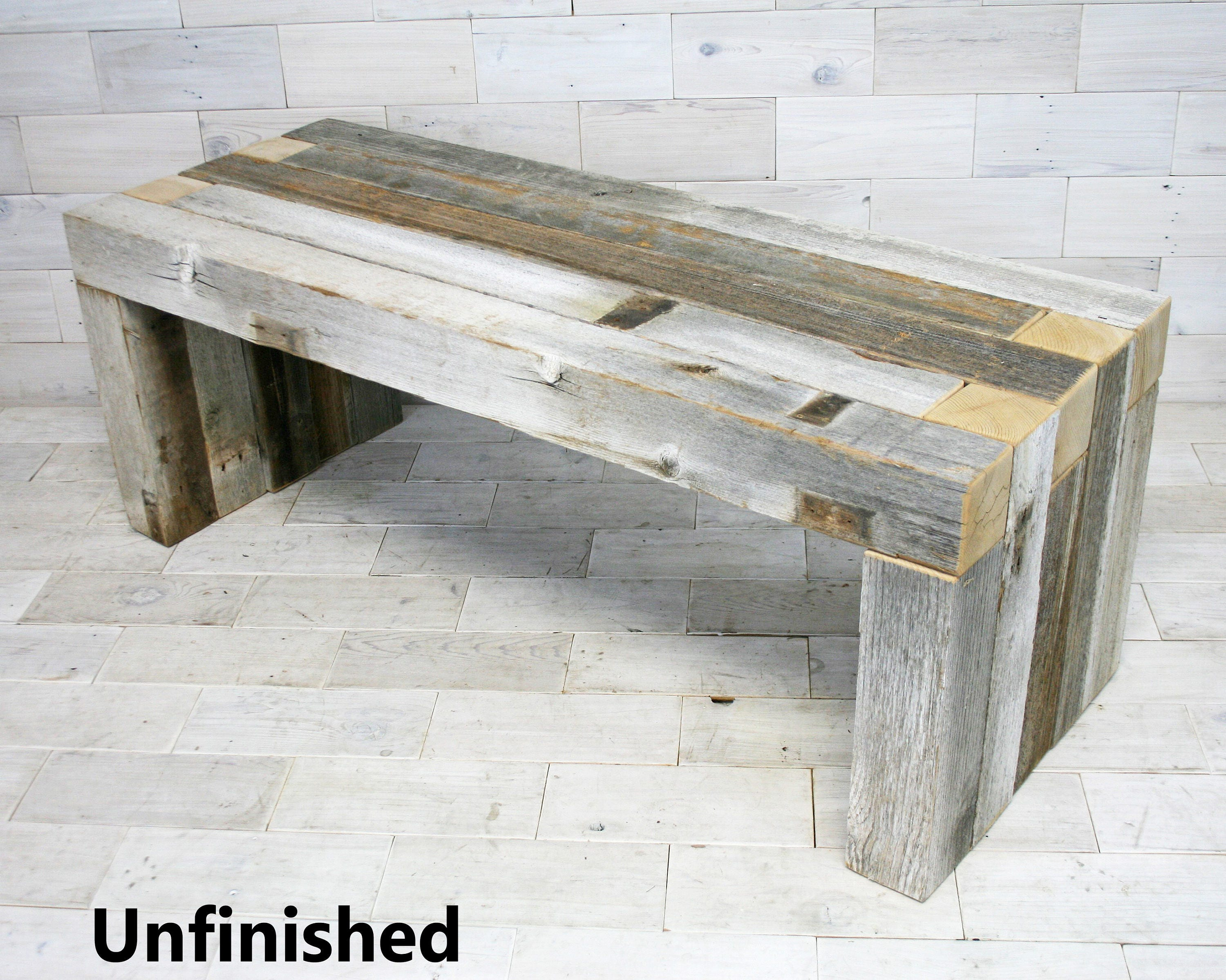Box Joint Bench made from Barn Wood tags weathered wood