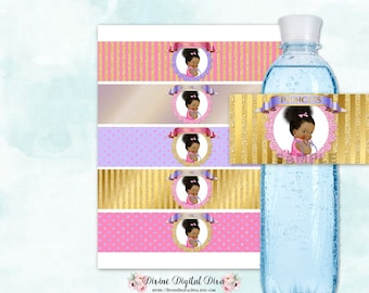 Water Bottle Labels | Pink Purple & Gold | African American Baby Girl Bun | Digital Instant Download