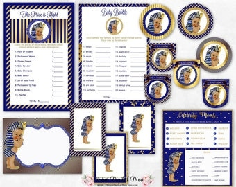 Egyptian Pharaoh Prince Royal Blue U0026 Gold | Baby Shower Package | African  American Medium Skin