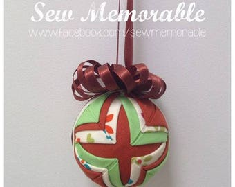 Hand quilted Christmas Bauble - Mint 'n' Mustard