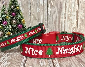 Christmas, Naughty Nice - Dog Collar - Winter - Santa - Dog Gift - Pet Gift - Holiday - Snow- Snowman -