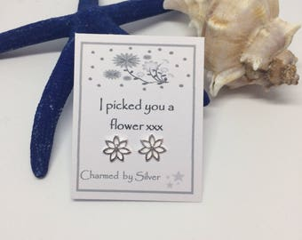 Sterling Silver Lily Flower stud Earrings with Message