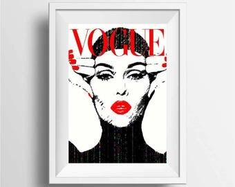 Vogue poster print, Vogue wall art decor