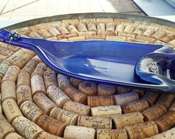 blue slumped large dish