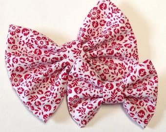 Red Floral Bow | Fabric Bow | Handmade Hair Bow | Hair Clip | Headband