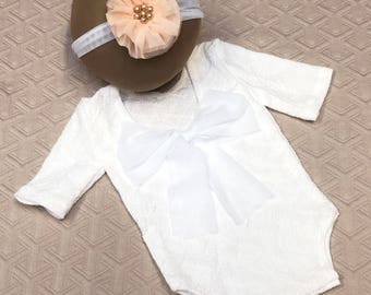 Newborn girl photo outfit baby girl romper set, newborn photo props white romper and headband baby girl first photo newborn girl photography