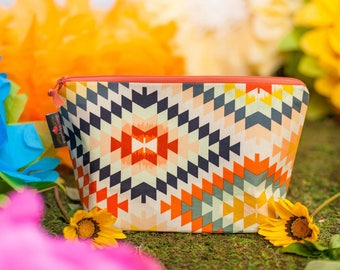 Cosmetic bag, Cosmetic pouch, Makeup bag, Makeup pouch, Zipper pouch, Large zipper bag, Gift for her, Aztec bag, Aztec