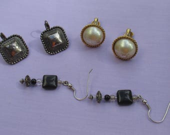 Lot Of Retro Assorted Pierced & Clip On Earrings TLC