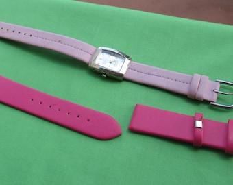 Retro Non Working Ladies Pink Watch With Hot Pink Vinyl Watch Band Repair Repurpose