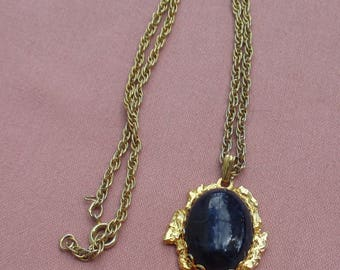 Vintage Dark Blue Marbled Look Glass Cabochon Pendant Necklace