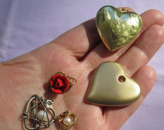 Lot Of Retro Assorted Heart Pendants Faux Pearl Red Rose