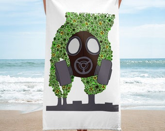 Gas Mask pollution wicked summer beach Towel