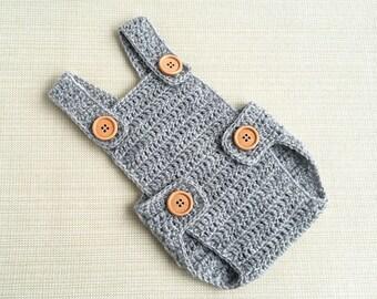 Newborn romper Crochet newborn photo outfit Baby boy photo prop romper Baby crochet romper Baby boy romper Newborn overalls New born gift