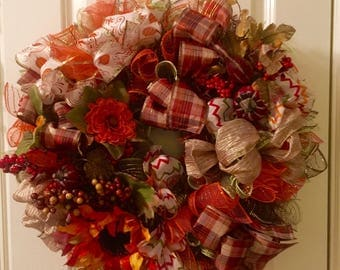 Fall Wreath, Autumn Wreath, Pumpkins Ribbon Floral, Mesh Ribbon, Thanksgiving Wreath Holiday Free SHIP