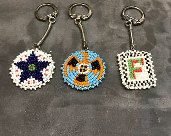 vintage seed bead key chains hand made