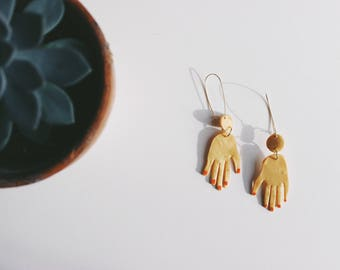 Gold hand earring | polymer clay |