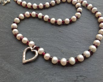 Karen Hill Tribe silver/January birthstone/ivory/white pearl necklace/garnet gemstone/Sterling silver/bridal jewellery/wedding/gift for her