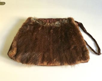Vintage Muskrat Fur Purse and Muff Handwarmer Satin Handle Embroidered Back
