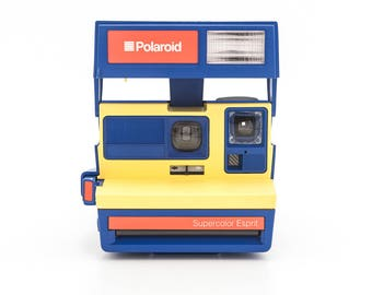 Polaroid SUPERCOLOR Esprit - Film Tested and Working Polaroid 600 - RARE Blue and Yellow Polaroid